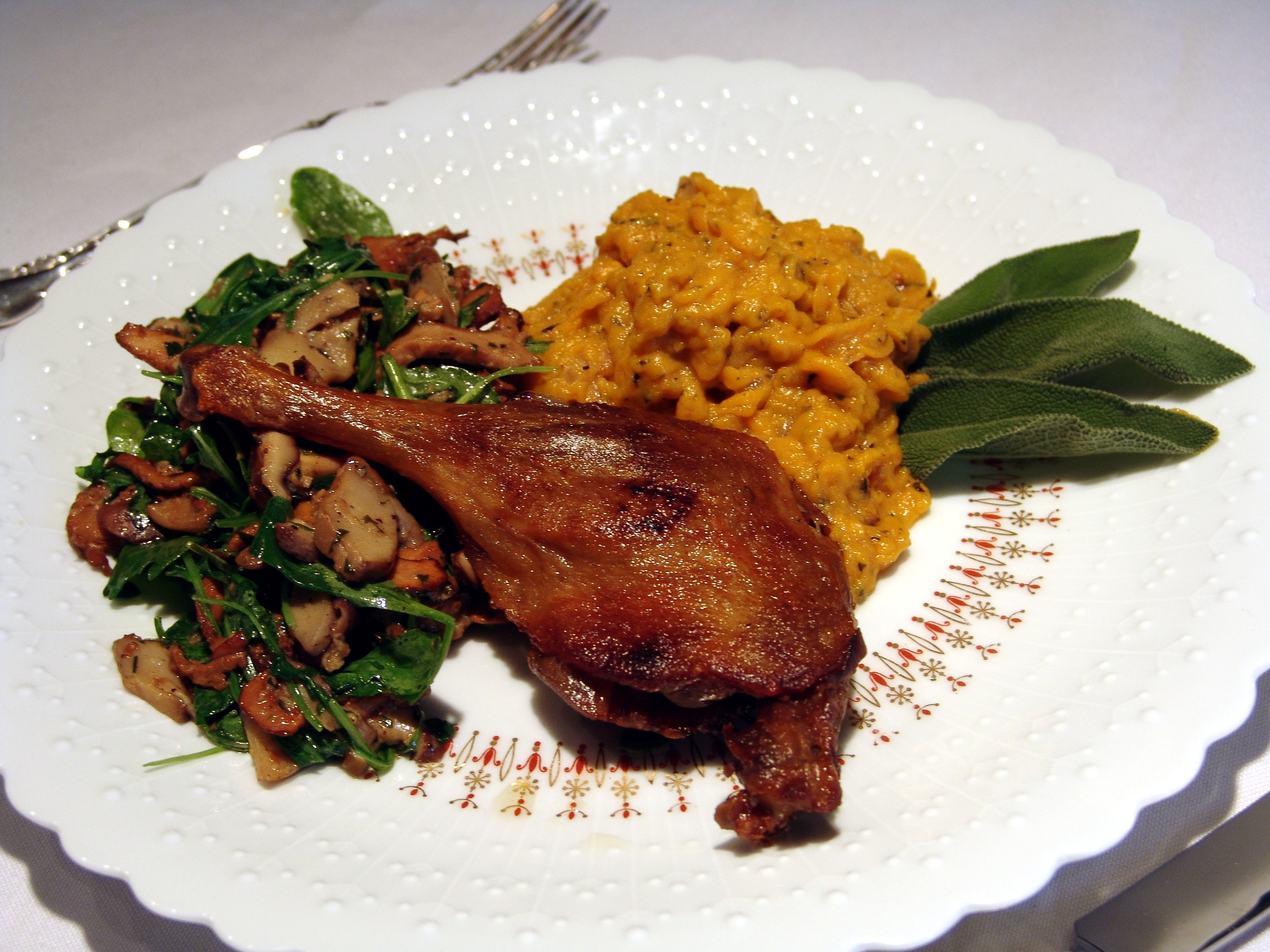 Warm kitchen colors - Duck Leg Confit With Roasted Butternut Squash And Mushroom